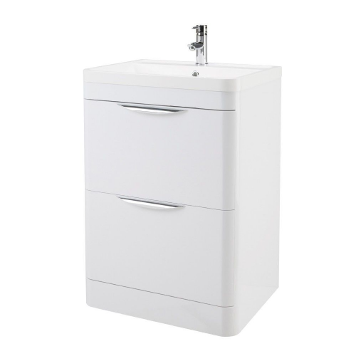 Parade 600mm White Gloss Floor Standing Vanity Unit & Basin